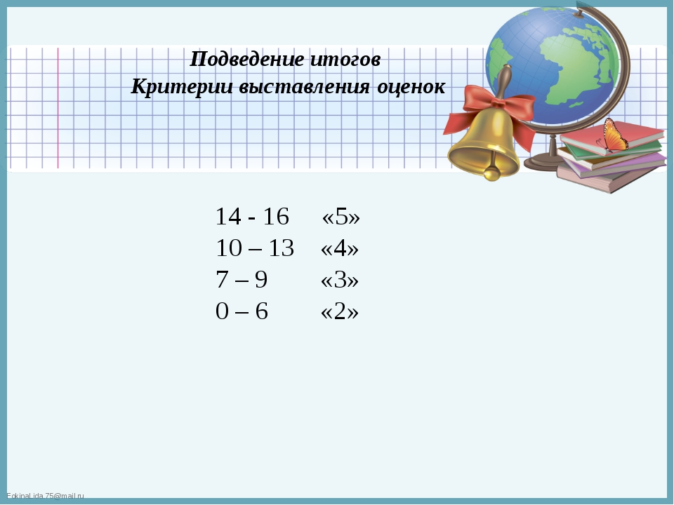 Подведение итогов Критерии выставления оценок 14 - 16 «5» 10 – 13 «4» 7 – 9 «...