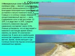 3 Минеральные соли Сиваша и соляных озер — важная сырьевая база химической п