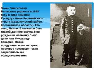 Чокан Чингисович Валиханов родился в 1835 году в орде-зимовке Кусмурун Аман-