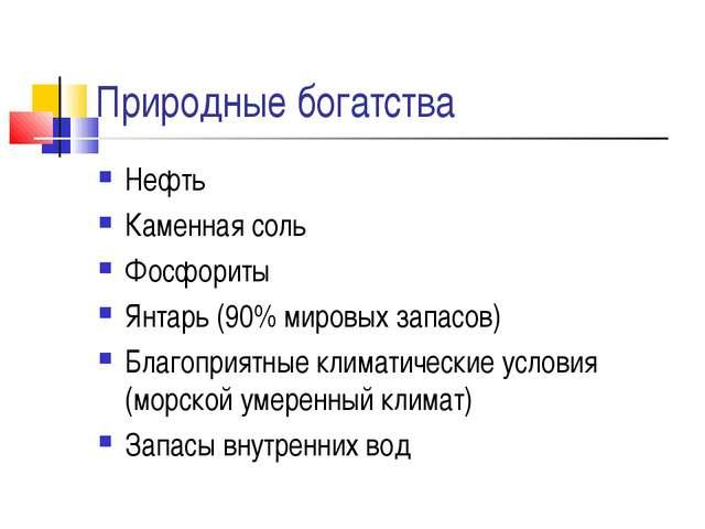 Природные богатства Нефть Каменная соль Фосфориты Янтарь (90% мировых запасов...