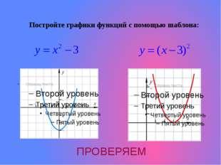 Постройте графики функций с помощью шаблона: ПРОВЕРЯЕМ