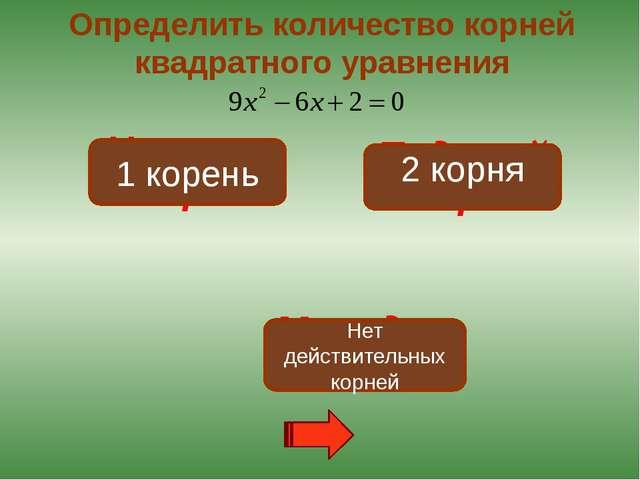 Неверно! Подумай! Молодец! Определить количество корней квадратного уравнения...