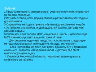 Задачи: 1.Проанализировать методическую, учебную и научную литературу по данн
