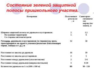 Состояние зеленой защитной полосы пришкольного участка. ИзмеренияПолученные