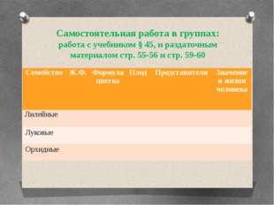 Самостоятельная работа в группах: работа с учебником § 45, и раздаточным мате