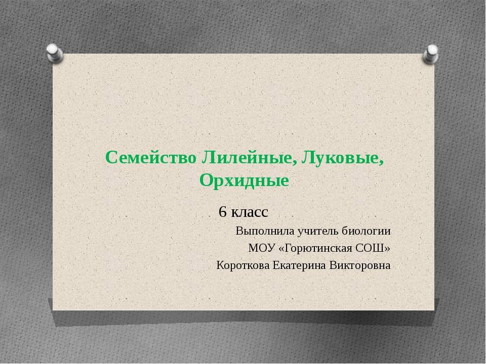 Семейство Лилейные, Луковые, Орхидные 6 класс Выполнила учитель биологии МОУ...