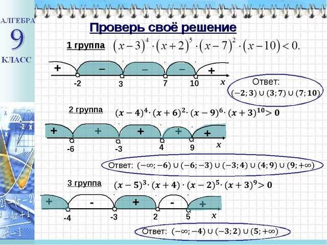Проверь своё решение 1 группа 3 -2 7 10 – 2 группа -6 + + + + + 9 4 -3 Ответ:...