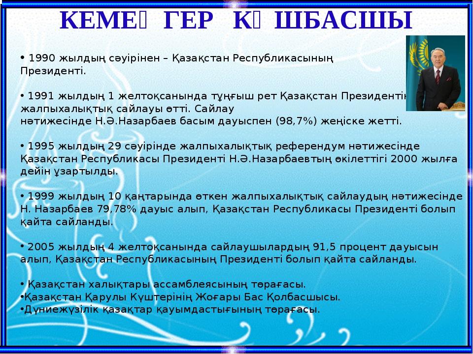 1990 жылдың сәуірінен – Қазақстан Республикасының Президенті. 1991 жылдың 1...