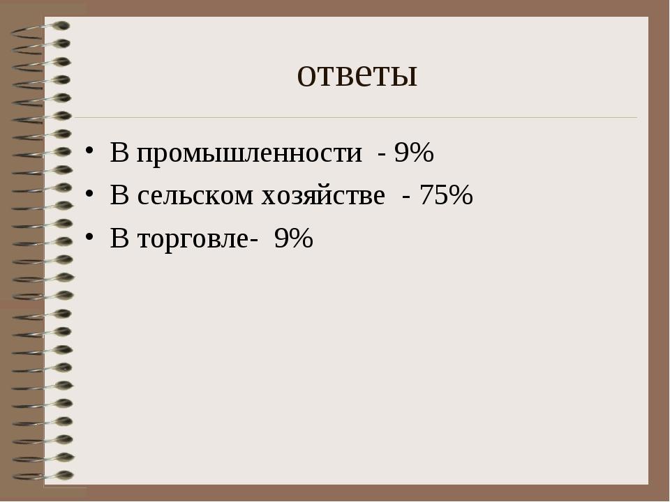 ответы В промышленности - 9% В сельском хозяйстве - 75% В торговле- 9%