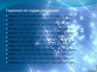 Гороскоп по годам рождения. КРЫСА -1912, 1924, 1936, 1948, 1960, 1972, 1984,