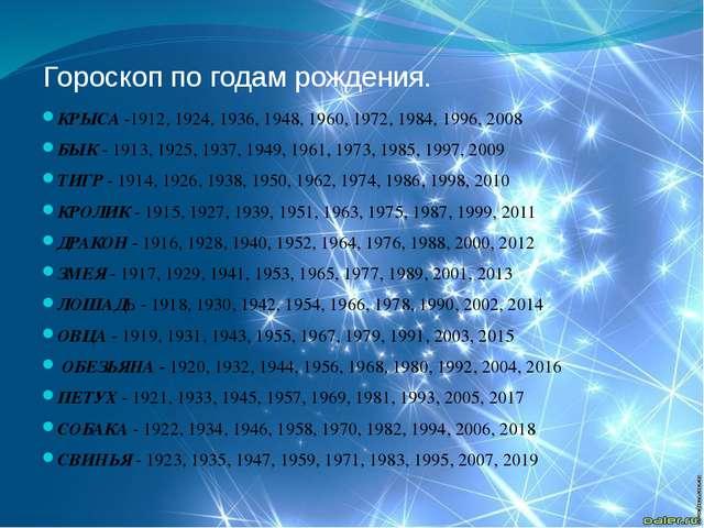 Гороскоп по годам рождения. КРЫСА -1912, 1924, 1936, 1948, 1960, 1972, 1984,...