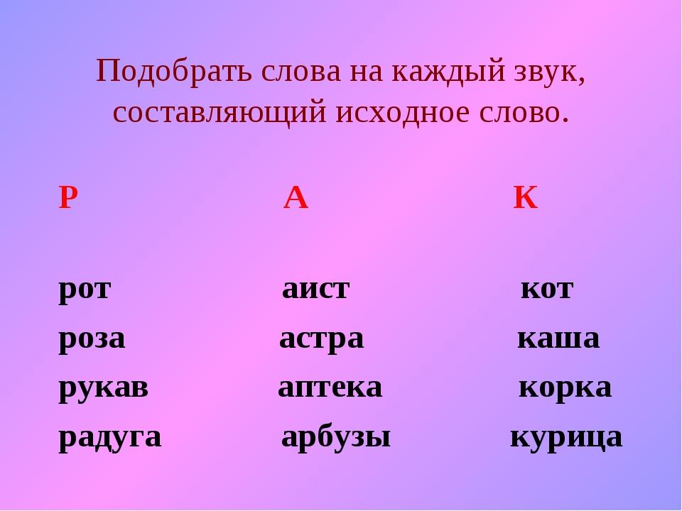 Подобрать слова на каждый звук, составляющий исходное слово. Р А К рот аист к...