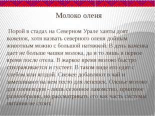 Молоко оленя Порой в стадах на Северном Урале ханты доят важенок, хотя назват