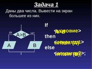 Задача 1 Даны два числа. Вывести на экран большее из них. If  then  else ;