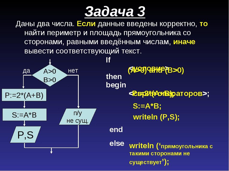 Задача 3 If  then begin ; (A>0) and (B>0) S:=A*B; A>0 B>0 да нет P,S п/у не...