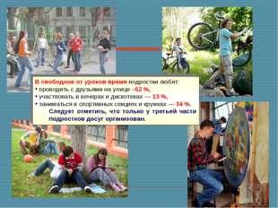 В свободное от уроков время подростки любят: проводить с друзьями на улице –5