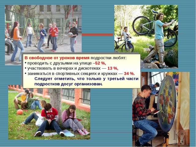 В свободное от уроков время подростки любят: проводить с друзьями на улице –5...