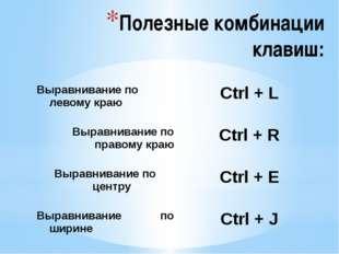 Полезные комбинации клавиш: Выравнивание по левому краю Ctrl + L Выравнивание