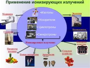 Применение ионизирующих излучений •Изотопы •Ускорители • Циклотроны •Синхротр