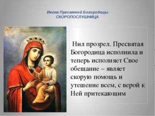 Нил прозрел. Пресвятая Богородица исполнила и теперь исполняет Свое обещание