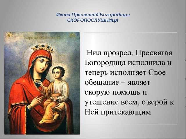 Нил прозрел. Пресвятая Богородица исполнила и теперь исполняет Свое обещание...