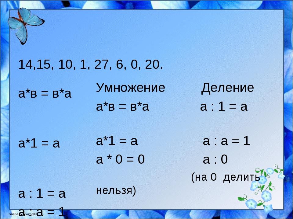 14,15, 10, 1, 27, 6, 0, 20. а*в = в*а а*1 = а а : 1 = а а : а = 1 а * 0 = 0 а...