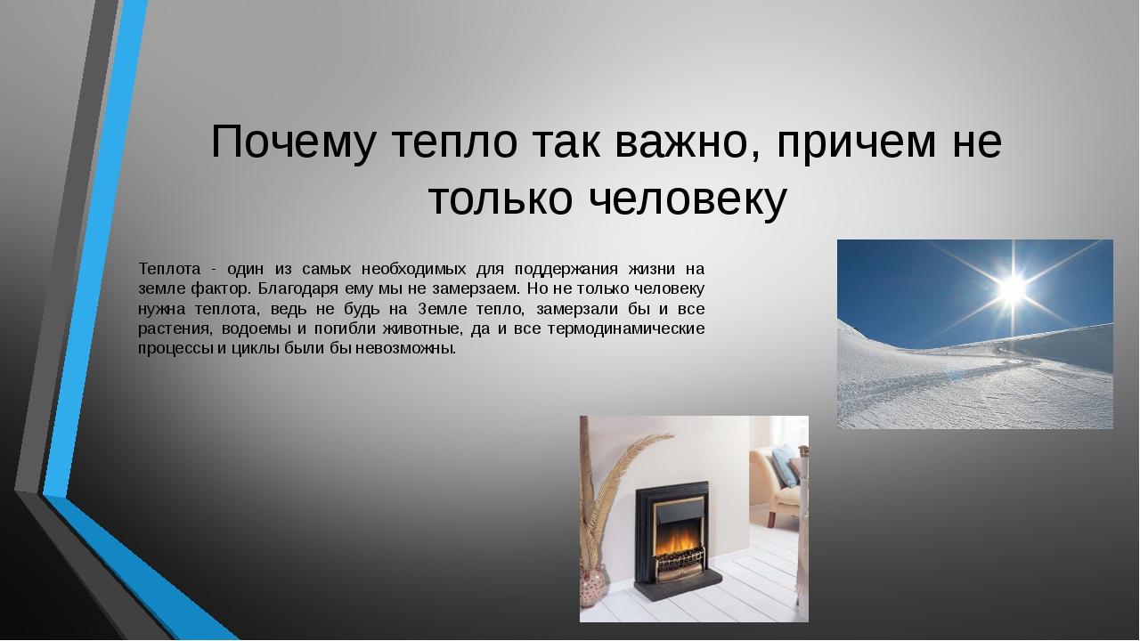 Почему тепло так важно, причем не только человеку Теплота - один из самых нео...