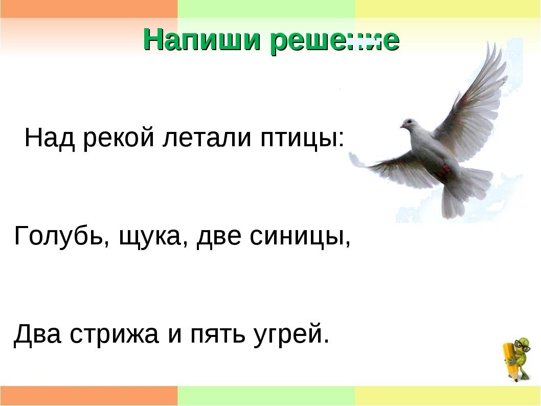 Напиши решение Над рекой летали птицы: Голубь, щука, две синицы, Два стрижа и...