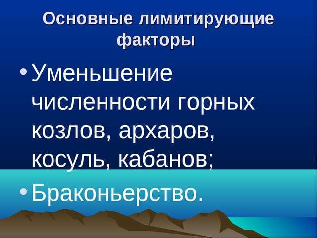Основные лимитирующие факторы Уменьшение численности горных козлов, архаров,...