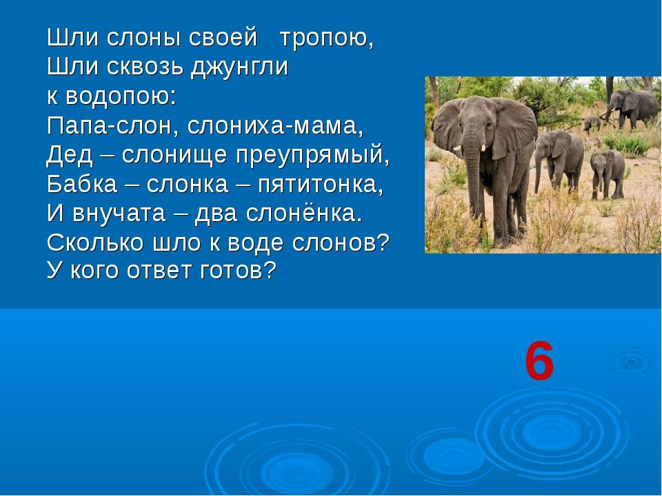 Шли слоны своей тропою, Шли сквозь джунгли к водопою: Папа-слон, слониха-мам...