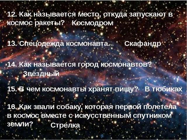 12. Как называется место, откуда запускают в космос ракеты? 13. Спецодежда ко...