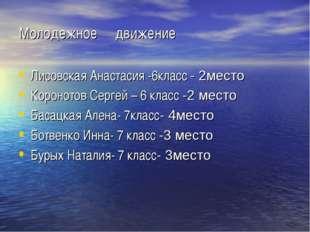 Молодежное движение Лисовская Анастасия -6класс - 2место Коронотов Сергей – 6