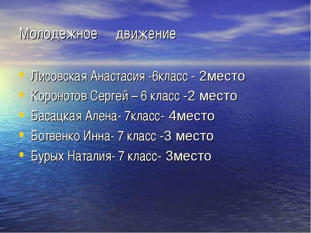 Молодежное движение Лисовская Анастасия -6класс - 2место Коронотов Сергей – 6...