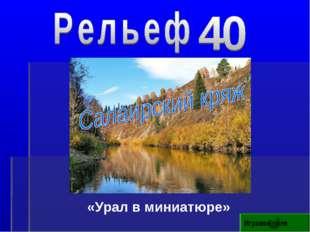 «Урал в миниатюре» Игровое поле