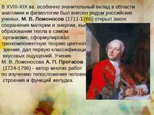 В XVIII-XIX вв. особенно значительный вклад в области анатомии и физиологии б