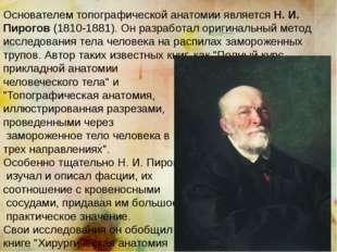 Основателем топографической анатомии является Н. И. Пирогов (1810-1881). Он р