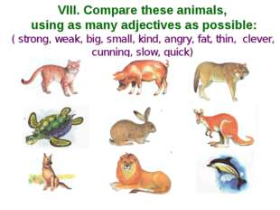 VIII. Compare these animals, using as many adjectives as possible: ( strong,