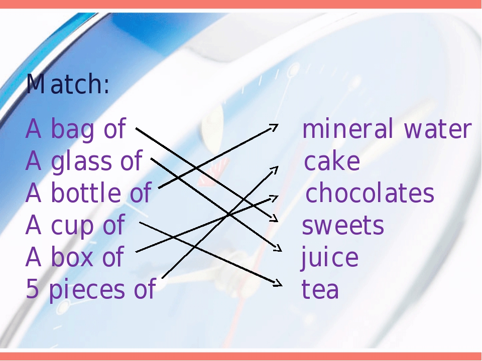 Match: A bag of mineral water A glass of cake A bottle of chocolates A cup of...