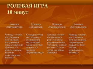 РОЛЕВАЯ ИГРА 10 минут Команда «Питекантроп»Команда «Синантроп»Команда «Неан