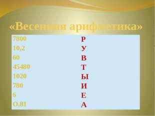 «Весенняя арифметика» 7800 Р 10,2 У 60 В 45480 Т 1020 Ы 780 И 6 Е О,81 А