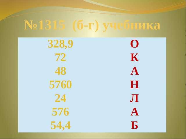 №1315 (б-г) учебника 328,9 О 72 К 48 А 5760 Н 24 Л 576 А 54,4 Б