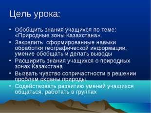 Цель урока: Обобщить знания учащихся по теме: «Природные зоны Казахстана». За