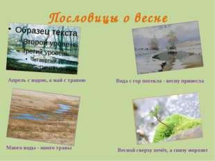 Пословицы о весне Апрель с водою, а май с травою Вода с гор потекла - весну п