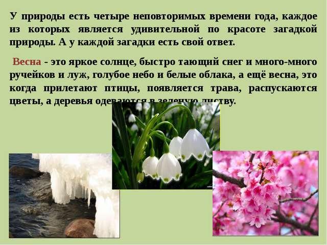 У природы есть четыре неповторимых времени года, каждое из которых является у...