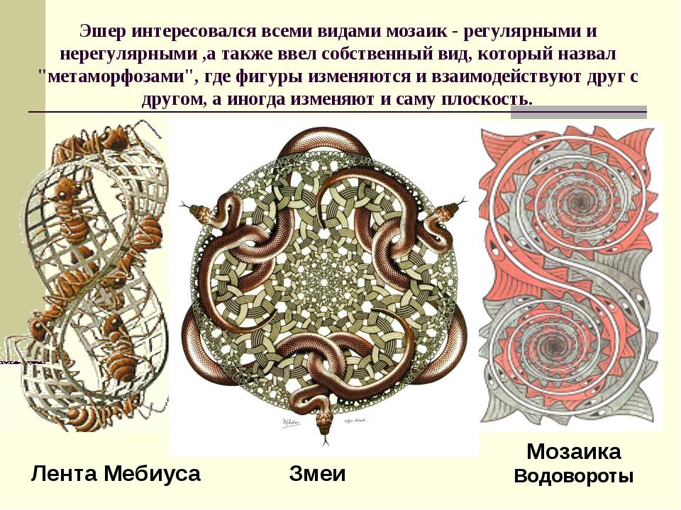 Эшер интересовался всеми видами мозаик - регулярными и нерегулярными ,а также...