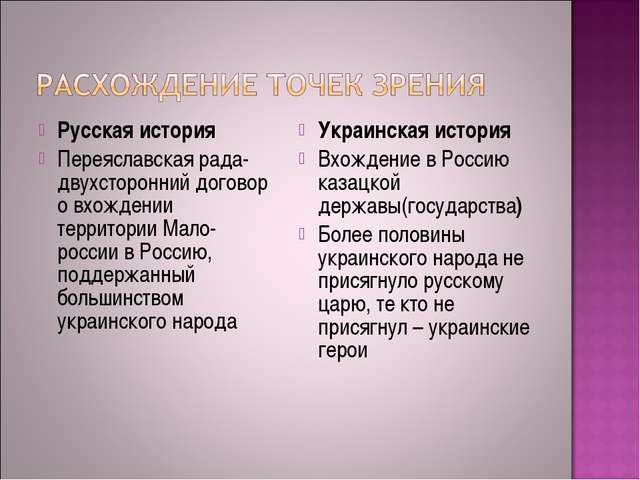 Русская история Переяславская рада- двухсторонний договор о вхождении террито...