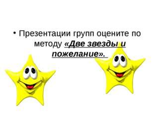 Презентации групп оцените по методу «Две звезды и пожелание».