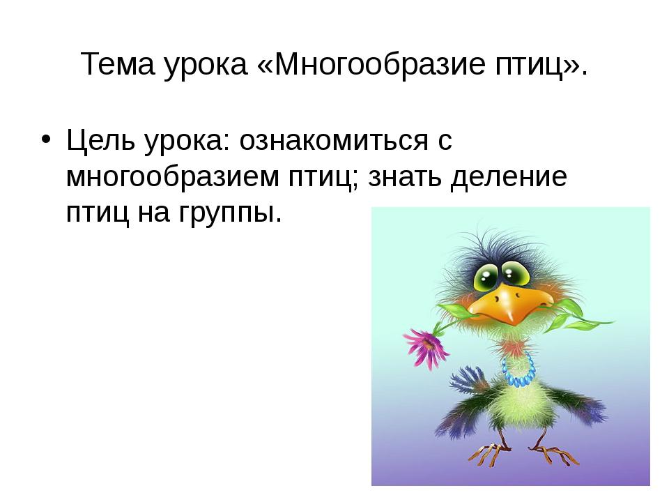 Тема урока «Многообразие птиц». Цель урока: ознакомиться с многообразием птиц...