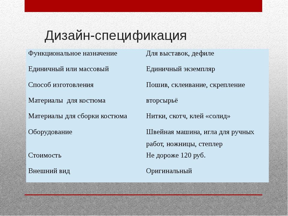 Дизайн-спецификация Функциональное назначение Для выставок, дефиле Единичный...