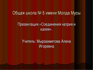 Общая школа № 5 имени Молда Мусы Презентация «Соединения натрия и калия». Учи